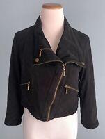 INC 100% Silk Black Cropped Moto Jacket w/ Asymmetrical Gold Zippers, Medium