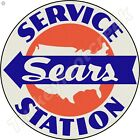 SEARS SERVICE STATION 11.75in ROUND METAL SIGN