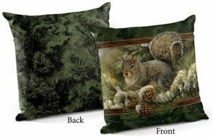 """Gray Squirrel 18"""" Decorative Pillow by Rosemary Millette"""
