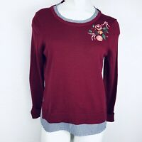 Crown & Ivy Embroidered Burgundy Women Blouse Sweater. Size Small. New With Tags