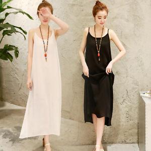 Women Full Slips Cotton Linen Strappy Chemise Long Dress Plus Size Petticoat