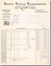 Invoice Societe Textile Valenciennoise in Valenciennes 1952