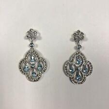 925 Sterling Silver Marcasite & Sky Blue Topaz Chandelier Style Drop Earrings
