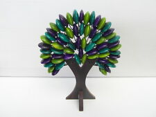 "Balinese Handmade ornamental beaded wooden ""tree of life"" - green/purple/turq"