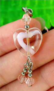 14x14x6mm Pink Millefiori Glass Love Heart Phone Accessories Chain AP15081