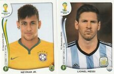 Panini 2014 World Cup Brazil # 450 Messi &  48 Neymar