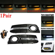 Front Bumper Grille Fog Light Lamp Flowing Led Turn Signal DRL For AUDI A4 B8 09