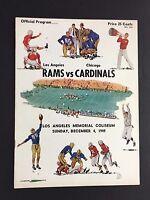 1949 NFL Program Memorial Coliseum Chicago Cardinals Vs LA Rams Football Game