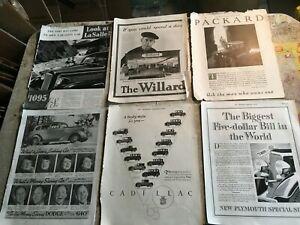 Vtg 4pc Saturday Evening Post Automobile Advertisements 30s 40s Ford Buick