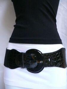 Women Hip High Waist Stretch Wide Black Belt Big Round Buckle Plus Size M L XL