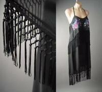 Black Halter Fringe Embroidered 20s Flapper Tango Dance Party 236 mv Dress S M L
