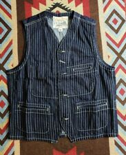 Sugar Cane Indigo Wabash Stripe Work Denim Vest Iron Heart Sz L