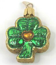 Old World Christmas Glass Glitter Ornament Shamrock Clover Irish