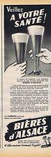 PUBLICITE ADVERTISING 114 1955 BIERES d'ALSACE