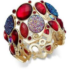 Red Shimmer Bold Stone Gold Tone Stretch Bracelet