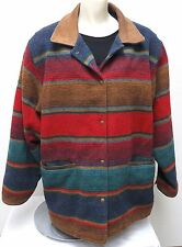 vtg GH Bass WOOL NATIVE STRIPED Coat Women LARGE Leather Collar western Red Teal