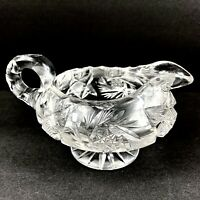 "Antique American Brilliant Footed Creamer Hobstar Crystal Cut Glass  5"" x 4"""