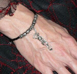 Skeleton Bracelet Adjustable Black Leather Thong Goth Pagan Halloween Gift