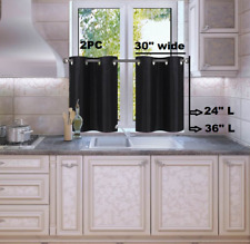 """1 SET LINED BLACKOUT PANELS KITCHEN SMALL WINDOW CURTAIN TIER 24"""" OR 36"""" LENGHT"""