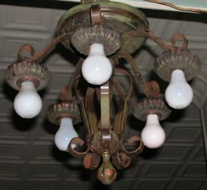 Vintage Green Painted Swirl Ribbon Parlor Deco Spanish Fixture Chandelier 5 Lamp