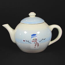Hartstone Pottery SNOW PEOPLE 1.5Qt Teapot Hand Painted Stoneware Snowman 1989