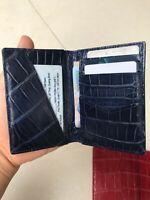 Crocodile Leather Credit Card Holder DOUBLE SIDE Genuine Alligator BLUE NAVY