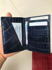 Crocodile Leather Credit Card Holder DOUBLE SIDE Genuine Alligator BLUE NAVY