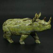 "Rhinoceros Figurine Natural Lemon Jade Carved Statue Healing Reiki Decor 5.1"""