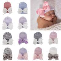 Striped Newborn Baby Girl Hat Medical Yarn Infant Ribbon Bow Cap Beanie Headband