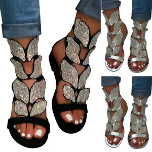 Women Rhinestone Butterfly Gladiator Sandals Summer Bling Flat Shoes SZ. UK3.5-8