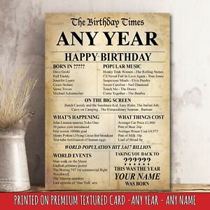 ANY YEAR YOU REQUIRE Birthday Present Poster Print Back In This Day Age Gift 36