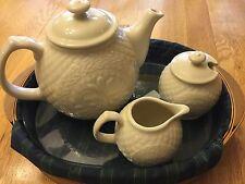 Longaberger Tea Tray With USA Made Pottery