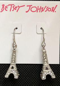Betsey Johnson Silver Tone Crystal Eiffel Tower Drop Earrings NWT