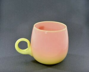 Old Burmese or Peachblow Mt. Washington Glass Pink to Yellow Glossy Cup