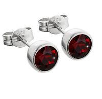 Paar Ohrstecker 925er Sterling Silber 5,50mm echt Granat Ohrringen M45