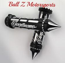 99-17 Hayabusa Black/Silver Engraved & Ball Cut Handlebar Grips w/Spike Bar Ends