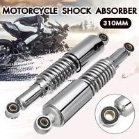 2x 310mm Chrome Motorcycle Rear Shock Absorbers Damper For Honda Yamaha Kawasaki