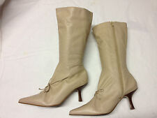 Top Shop Womens Winter beige Leather Zip Pointy knee High Boots New Sz 8 UK 8 42