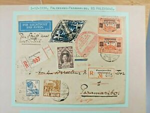 1934 REGISTERED COVER PALEMBANG PARIMARIBO NEDERLAND DUTCH INDIES B111.6 $0.99