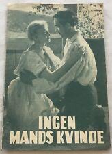 Ingen mans kvinna Malmsten Ann-Marie Gyllenspetz Vtg 1953 Danish Movie Program