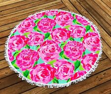 """BACK IN NEW LILLY INSPIRED 59"""" ROUND BEACH TOWEL ROSE SUMMER POOL RARE"""