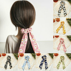 Women Knotted Ponytail Streamers Hair Tie Daisy Hair Scrunchies Hair Accessories