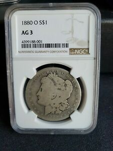 1880 O Morgan Silver Dollar - NGC AG 3 - Very Nice Even Wear