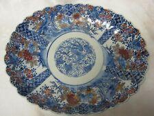 """Antique 12.5"""" Large Japanese Imari Polychrome Oval Bowl Phoenix & Other Birds"""