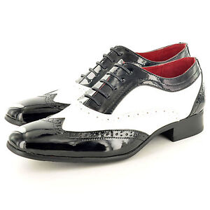 New Mens Dance Shoes Black Red White Brogue Spats Leather Lined in UK Size 6-12