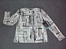 BLACK PEPPER: Size: 12-14. Stylish Modern Multi Slimming Print, L/Sleeve Top