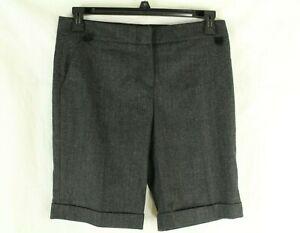 BluGirl Women's Gray Wool Blend Herringbone Bermuda Shorts Size 44 (8 US)