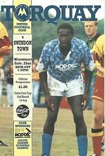 Torquay United v Swindon Town - League Cup - 1992 - Football Programme