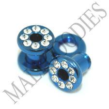 0886 Blue Screw-on / fit Steel CZ Flesh Tunnels 4 Gauge 4G Ear Plugs 5mm