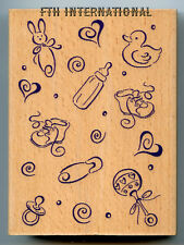 """Baby Things ~ All Night Media Wood Mount Rubber Stamp #364J Background 4.25 x 3"""""""